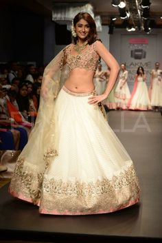 Ileana D'cruz walks for Anushree Reddy at LFW 2014 in a white and gold lengha
