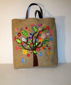 RESERVED Handmade large jute unique tote handbag por Apopsis
