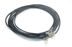 black necklace cord  black leather cord  round by SelectBeads