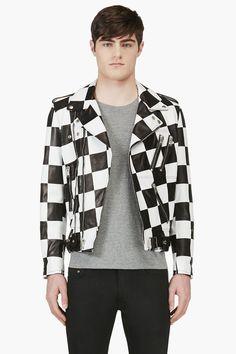 Saint Laurent - Black and White Check Walt Jabsco Biker Jacket for Men -  Lyst 974bda363