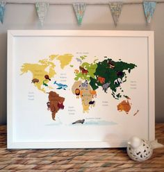 World Map: Map of the World Animal Illustration Poster Print