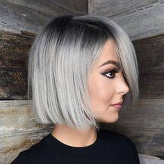 Are you looking for ombre hair color for grey silver? See our collection full of ombre hair color for grey silver and get inspired! Ash Blonde Bob, Blonde Bob Haircut, Silver Ombre Hair, Ombre Hair Color, Grey Ombre Hair Short, Ombre Hair Bob, Black And Silver Hair, Black Ombre, Hair Colour