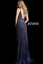 f4b792776b Navy Plunging Neckline Embellished Fitted Prom Dress 62497. jovani.com