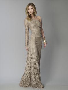 David Meister's Matte Gold Crochet Gown.