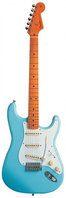 The Fender Classic Series 50s Strat features an Alder body, three vintage style single coils and includes a gig bag. In Daphne Blue finish.