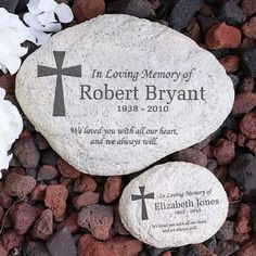 Memorialize a loved one with personalized memorial garden stones or pet memorial stones. Add name & dates on your favorite design, we'll custom engrave memorial & sympathy gifts at no additional cost.