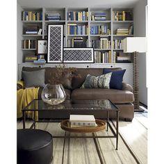 Ellis Leather Sofa, Lima Alpaca Throw, Pia Coffee Table, Shibori Prints, Channel Floor Lamp, Paxton Rug