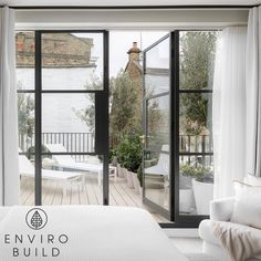 It's all about the light, the plants and these modern french doors This photo sent to us by @paterson_wood features our Hyperion Pioneer decking in Silver Birch to beautifully compliment the light features surrounding it. Pioneer Decks, Outside Living, Composite Decking, French Doors, Birch, Living Spaces, Wood, Modern, Plants