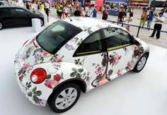 "Floral Wrapped Herbie..I call all VW Beetles ""Herbie"" it's just what I've said since I was 5.."