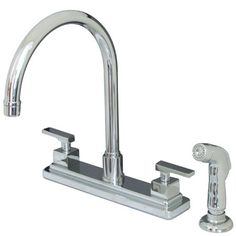 View the Kingston Brass KS879.QLL Executive Centerset Kitchen Faucet with Metal Lever Handles and Deck Plate at FaucetDirect.com.