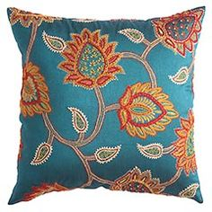 Embroidered Jacobean Floral Pillow - Pier 1.   I love this fabric color and print! I'd love to use it on all sorts of things!