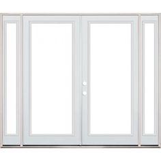 6 0 full lite fiberglass patio prehung double door for Double wide french doors