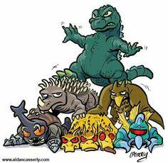 Godzilla, Anguirus, Rodan, Megalon, King Ghidorah, and Gigan forming a pyramid