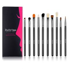 Duorime Silky 10Pcs Eye shadow Makeup Brush Set Essential Eye Makeup Brushes Kit #Duorime