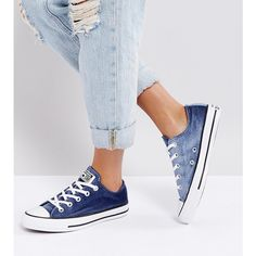 Converse Chuck Taylor Ox Trainers In Navy Velvet (€75) ❤ liked on Polyvore featuring shoes, sneakers, navy, converse shoes, lace up high top sneakers, velvet shoes, navy blue sneakers and high top trainers