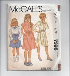 McCall's 7396 Pattern for Girls' Dress Size 7 by VictorianWardrobe, $6.00