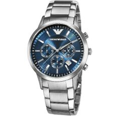 Emporio Armani Men's AR2448 Classic Chronograph Stainless Steel Blue Dial Watch Emporio Armani. Save 30 Off!. $241.90. Blue dial. Japanese-Quartz movement. Water-resistant to 165 feet (50 M). Stainless steel case and bracelet. Scratch-resistant mineral