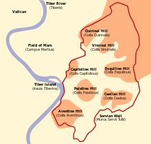 Map of the Seven Hills of Rome. Romulus was said to have founded the city of Rome on the Capitoline Hill.