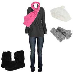 Boots cut gloves scarf Jeans sweater