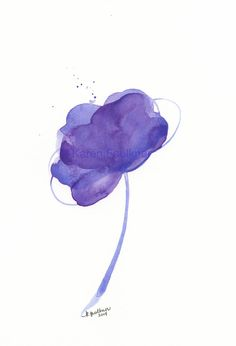 """Purple Fizz"" Abstract Flower Original Watercolor Painting by Karen Faulkner on Etsy, $30.00"