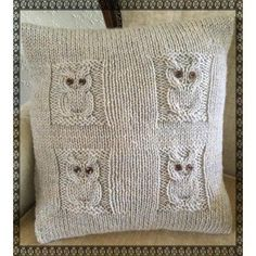These 4 cute owls will soon become firm friends when they come to live in your house!The pattern is easy/intermediate, as you will need to know how to cast/bind on and off, knit, purl, and simple cabling. (Even if it's your first time cabling, you will be able to, it's that easy!) This is an envelope cushion cover to enable easy insertion of the cushion on the reverse side.****Fun to knit and a great addition to your home!****Knitted on 2 needles and sewn up the sides. Instructions…