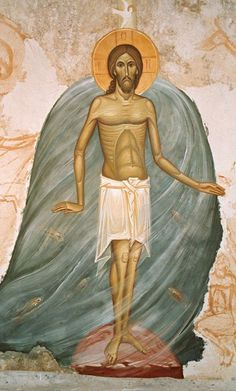 Towards a Great Pictorial Synthesis: Interview with Ioan Popa – Orthodox Arts Journal Religious Images, Religious Icons, Religious Art, Byzantine Icons, Byzantine Art, Early Christian, Christian Art, Fresco, Baptism Of Christ