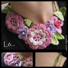 A pretty flower necklace!  This would be easy to crochet, just look up some flower and leaf patterns.