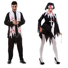 DisfracesMimo, disfraz pareja de religiosos sangriento hombre y mujer.  Lo pasar�n de muerte asustando a los peque�os en la noche de Terror y halloween. Este disfraz es ideal para tus fiestas tem�ticas de religiosos y terror para adulto