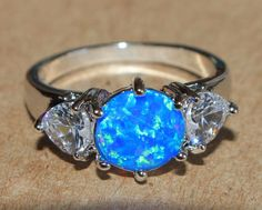 blue fire opal white topaz ring silver jewelry Sz 6.5 modern cocktail wedding Z3 #Cocktail