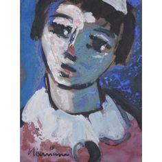 LADY CLOWN 245X190 GOUACHE ON PAPER Gouache, Halloween Face Makeup, Alice, Gallery, Lady, Paper, Artwork, Work Of Art, Auguste Rodin Artwork