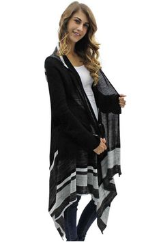 Black White & Gray Open Front Sweater Coat With Hood