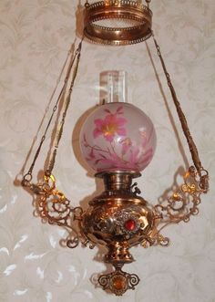 oil lamp in Decorative Antique Art Victorian Lighting, Victorian Lamps, Antique Lighting, Victorian Library, Antique Light Fixtures, Antique Oil Lamps, Vintage Lamps, Kerosene Lamp, Brass Lamp