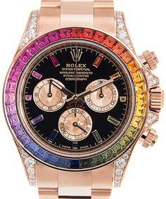 Rainbow Sapphire Daytona Chronograph Automatic Chronometer Diamond Black Dial Unisex Watch
