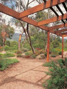 House & Garden > beautiful native Australian garden and pergola Bush Garden, Dry Garden, Home And Garden, Back Gardens, Outdoor Gardens, Hanging Gardens, Australian Native Garden, Australian Plants, Landscape Design