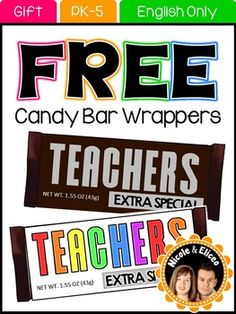 Teacher Appreciation: Free Candy Bar Wrappers!Looking for something cute and original to give to volunteers for volunteer appreciation day that won't break the bank? Check out our free candy bar wrappers! They are designed to fit a standard 1.55 oz. Hershey bar and  are available in brown, multi-color, and blackline.
