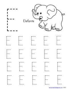 Abecedario en mayusculas con dibujos Handwriting Worksheets For Kids, Preschool Number Worksheets, Preschool Writing, Preschool Learning Activities, Alphabet Worksheets, Preschool Printables, Kindergarten Worksheets, Alphabet Writing Practice, Letter E Activities
