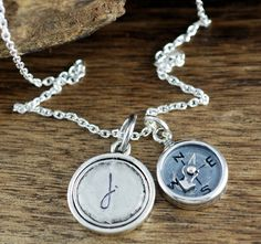 Your place to buy and sell all things handmade Initial Jewelry, Initial Pendant, Graduation Necklace, Graduation Gifts, Compass Necklace, Hand Stamped Jewelry, Sterling Silver Chains, Initials