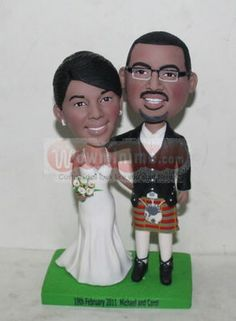 WowMiniMe.com 100% handmade custom cake toppers look like you- Groom Carried Bride Cake Toppers-Scotland wedding cake toppers 10787