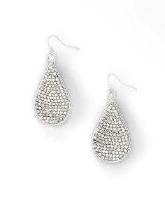 Silver Beaded Teardrop Earrings