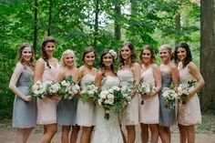 A gray + blush bridal party outfitted in Jim Hjelm dresses by Vow To Be Chic! Rent the look!
