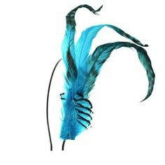 """Crystalmood Blue Long Feather Hairband Accessory Adjustable Removable by Crystalmood. $20.99. This flirty look transcends from fancy high fashion to playful and festive. This hair band constructed of turquoise blue long feathers adds an edgy, fresh update to your wardrobe. Measures approximately 5"""" by 3.5"""". Back strip allows it to be put on any headband up to 1cm wide. Included black metal headband is about 3mm (1/8"""") wide.. Save 25%!"""
