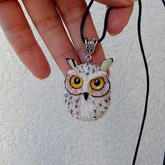 Eagle owl pendant necklace, women's men's jewelry, handmade owl of clay, owl totem, owl amulet talisman, owl jewelry, owl night Birds
