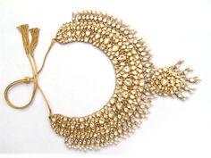 Gem Palace wedding necklace of many tiers and fringes using polki-set diamonds.