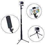 Smatree SmaPole Q3 Ausziehbare Pole / Selfie Stick mit Stativ für GoPro Hero 5/4/3+/3/2/1/Session / für Kompaktkameras / Handys