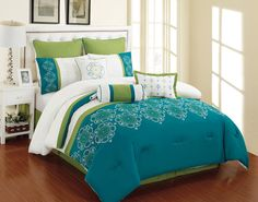 9 Piece Parksville Turquoise and Green Comforter Set in Comforters & Sets   eBay Green Comforter, Blue Bedding Sets, Girls Bedding Sets, White Bedding, Comforter Sets, Wooden Floor Texture, Teen Girl Bedding, Luxurious Bedrooms, Quilts