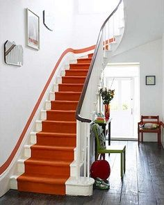 colored strip and runner emphasize journey and path of travel. I love a nice runner going up stairs