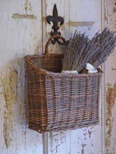 Dried lavender in hanging basket with fleur de lis hanger - from basket love | At Home Arkansas
