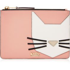 Karl Lagerfeld Robot Choupette Pouch ($125) ❤ liked on Polyvore featuring bags, handbags, clutches, rose, red leather purse, leather handbags, pink leather purse, genuine leather purse and leather purse