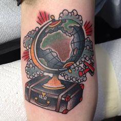 Travel tattoo idea, love the suitcase