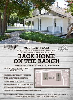 Come enjoy a free celebration of the reopening of the Florence Ranch Homestead, 1424 Barnes Bridge Road, on Saturday, March 18, from 11 a.m. - 2 p.m. Free lunch while supplies last plus: free tours of the Florence Ranch Homestead, sack and stick horse races, family feud tug-o-war, fresh-churned butter by the bell and more! Parking available on-site and at First Baptist Church of Meadowview, 4346 N. Galloway Ave.  #RealTexasFlavor #HistoricMesquite #FlorenceRanchHomestead #FamilyActivities…